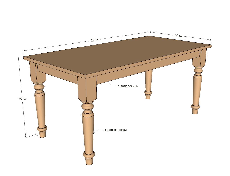 Чертеж стола из массива своими руками