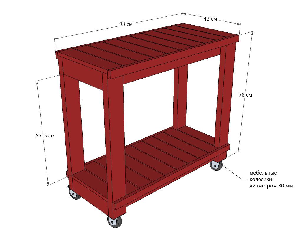 Чертеж деревянного сервировочного столика на колесиках