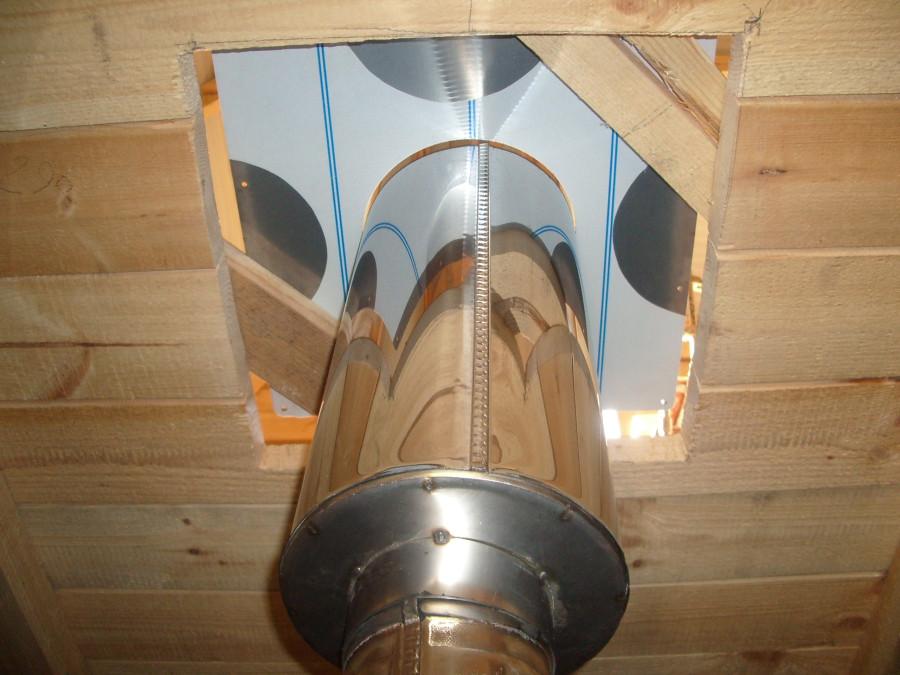 Монтаж сэндвич трубы для дымохода через перекрытие аксессуары для дымохода в спб