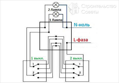 Схема подключения проходного двухклавишного фото 925