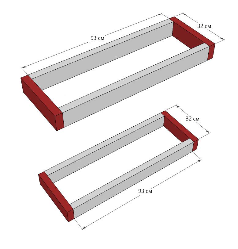 Схема верхнего и нижнего оснований столика